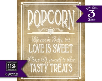 Popcorn Life Can be Salty but Love Is Sweet Wedding Chalkboard Style sign - INSTANTLY DOWNLOADABLE - Vintage heart collection