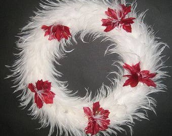 White Hackle Feather Wreath - 15"