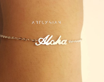Aloha bracelet, Aloha jewelry, Hawaiian bracelet, Tropical bracelet, Beachy bracelet,aloha charm bracelet,Ohana bracelet,bracelet minimalist