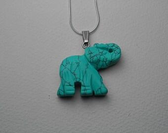 Elephant Jewelry / Turquoise Jewlery: Turquoise Elephant Pendant