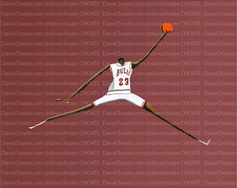 Chicago Bulls, Michael Jordan. Photo print from an original painting. Hand Signed and Listed for sale by Artist.