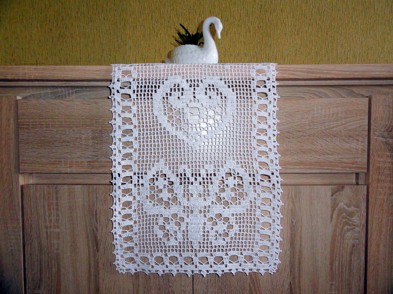 Filet häkeln Schmetterling Deckchen handgefertigte Tischdecke