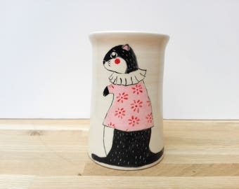 Ceramic vase with little otter, handmade and wheel thrown pottery / / earthenware Vase white with pink sweater Otter decor