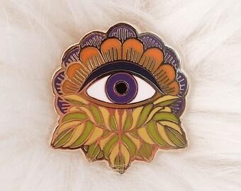 Mystic Eye Enamel Pin - Cloisonne Pin, Floral Enamel Pin, Flower, Eye, Hard Enamel Pin, Third Eye, Evil Eye