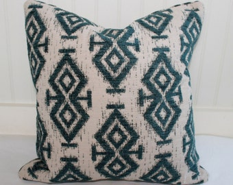 Teal and Oatmeal Ikat Pillow Cover / 18 X 18 / Designer Upholstery / Handmade Home Decor Accent Pillow