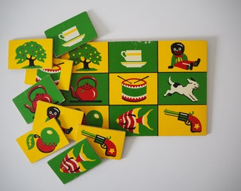 Vintage childrens wooden picture lotto snap game