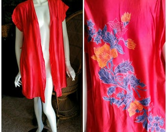 60's Julie Girl Robe, Asian Inspired Robe, Gorgeous Red Robe, Oriental Robe, Red Summer Robe, Bohemian Robe, Boho Beauty Jacket, SM/MD
