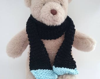 Teddy Bear Clothes, Black Handknitted Scarf with Pale Blue Accent