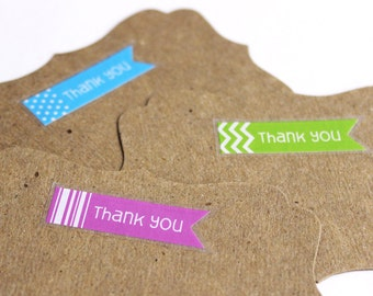 "Thank You Stickers Assortment - Chevron, Stripes, Dots - 48 mini clear banner flag decals - pennant envelope seals - 1.5"" x .5"""