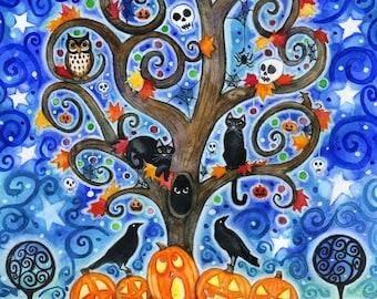 Halloween Tree - 8x10 Colorful Autumn Tree Swirly Black Cats Moon Star Ravens  Print