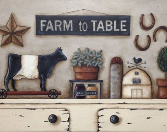 Farm to Table, Donna Atkins New England Primitive Folk Art Print. Rustic Shelf Scene. Cow barn herbs still life. Parsley Sage Rosemary Thyme