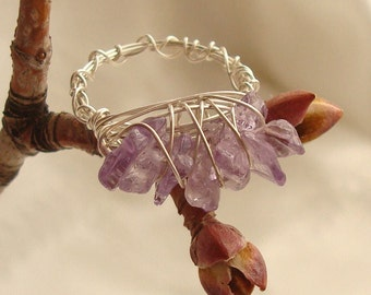 Chipped Amethyst Wire Wrapped Sterling Silver Ring -Handmade and Unique