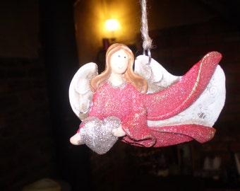 Danish Ceramic Flying Christmas Angel with Heart,Hanging tree or window decoration,Ornaments