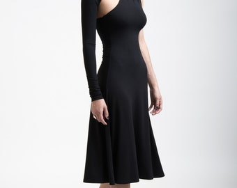 Black Dress / One Shoulder Dress / Cocktail Dress / One Sleeve Dress / Party Dress / A Line Midi Dress / Marcellamoda - MD0004