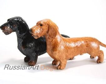 Wirehaired Dachshund  statue, figurine handmade of ceramic, statuette