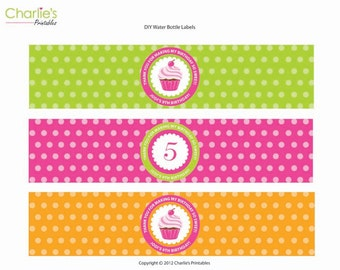 Cupcake Birthday Water Bottle Labels, Bottle Wrapper, Personalized Digital File, Cupcake Party, Printable Labels, Cupcake Theme