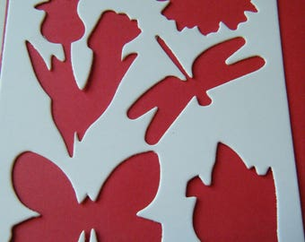 6 patterns stencils scrapbook for coloring, card making, painting or scrap cardboard