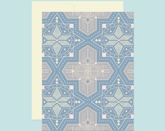 Moroccan Sky Card | A2 | Stationery, Note Card, Blank Interior, Social Stationery, Morocco, Tile, Blue, Pastel, Pattern