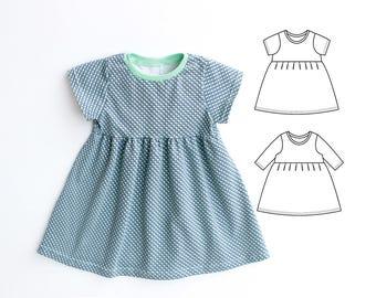 DOTTY Girl Baby Girl Dress sewing pattern Pdf, Knit Jersey Dress, Short and Long Sleeve, Toddler dress, newborn dress 0 - 10 years