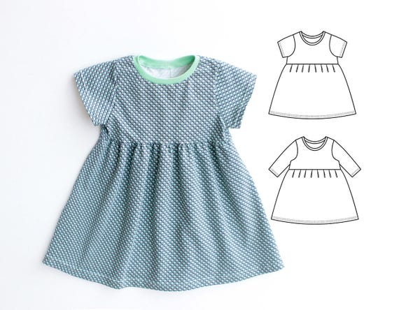 DOTTY Girl Baby Girl Dress sewing pattern Pdf Knit Jersey