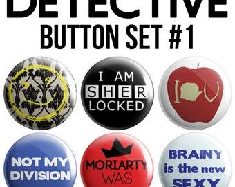 Detective Pinback Button Set #1