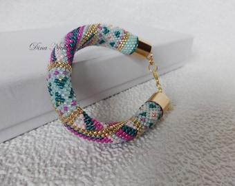 Bead Crochet Bracelet Seed Bead Bracelet Geometric Design Bracelet Beadwork Jewelry Multicolored Friendship Bracelet Round Chunky Bangle