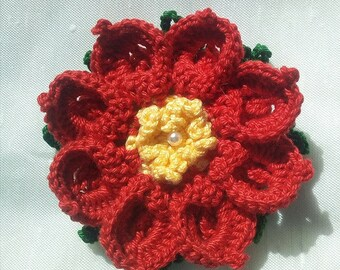 Crochet Christmas Poisenttia Set of 3/Christmas crochet flowers/Ornaments