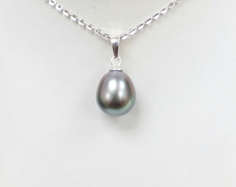 Silver Tahitian Pearl 10.5mm on 925 Sterling Silver Pendant
