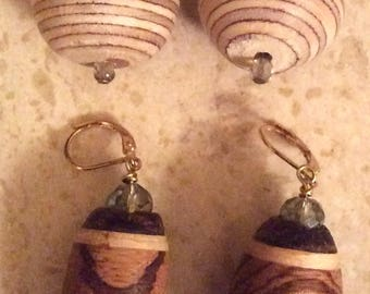Hand Carved Wood Earrings by Jack Cousin