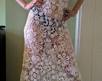 A dress that is crocheted. Irish lace.