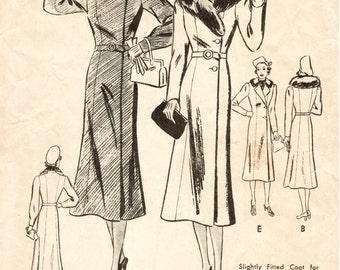 1930s 1940s Vintage Sewing Pattern fitted coat fur collar belted bust 36 b36 repro reproduction