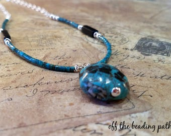 Turquoise Black Obsidian Sterling Necklace - Southwestern Necklace, Turquoise Pendant, Gift