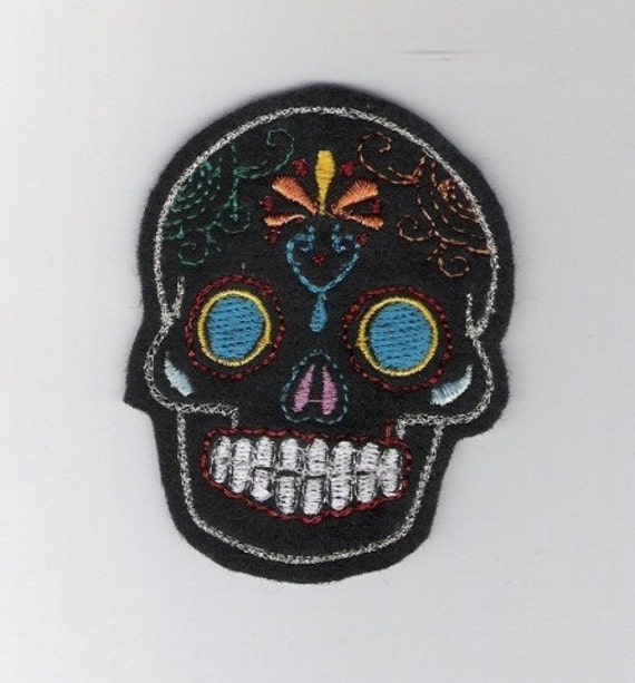 Mini Mexican Sugar Skull embroidery patch blue eyes