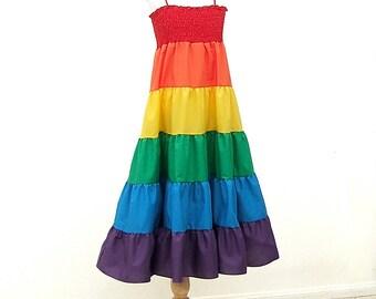 Rainbow Dress, Size Large, Size L, Size Extra Large, Size XL, fits Girls Size 10, 12, 14, 16, Rainbow Twirl dress for Girls