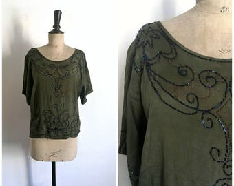 Antique 1920s Dark Green Silk Crepe Tunic Embroidered with Seed Beads / Size Medium