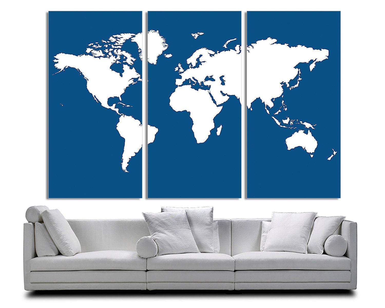 3 panel Split abstracto mundo mapa lona impresión marcos