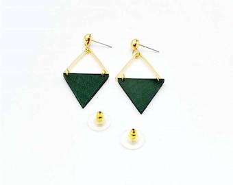 Green triangular earrings
