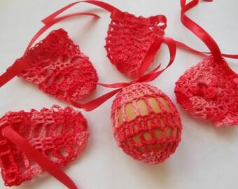 Crochet Easter Egg Cover, Set of 5 Hand Crocheted Easter Eggs Easter Decoration Red