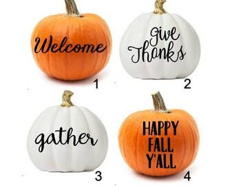 Pumpkin Decals, DIY Fall Decor, DIY Pumpkin, Pumpkin Decor, Thanksgiving Decals, Thanksgiving Decor, Thanksgiving Pumpkin Decor, Fall Decor