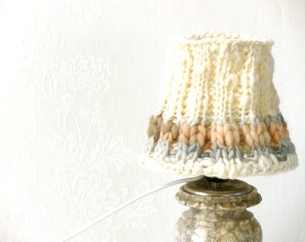 Table Lamp, Drum Lamp Shade, Knitted Wool Decor Cream Naturewool, Desk Lamp, Vintage Room Decor, Country French Decor ,Bedroom Light Decor.