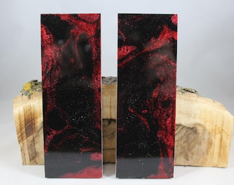 2 Pcs Red and Black Composite Knife Scales (84)
