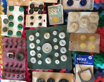 Lot of Vintage/ Antique Buttons on cards plus buckle~ Card of Buttons~ Coat Buttons