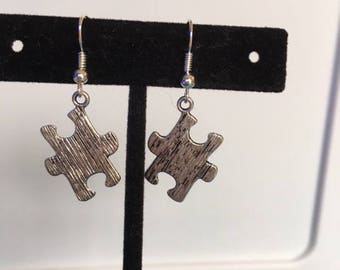 Silver puzzle piece Autism awareness earrings