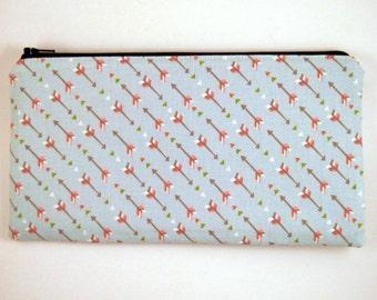 Arrow Zipper Pouch, Make Up Bag, Pencil Case, Gadget Bag, Pencil Pouch, Clutch, Purse