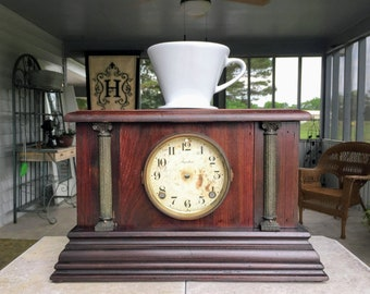 Pour Over Stand with Storage for Coffee and Tea, Made From Antique Mantel Clock