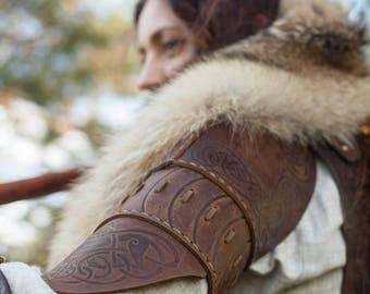 Unisex Leather Pauldrons; Viking Armor; Armour