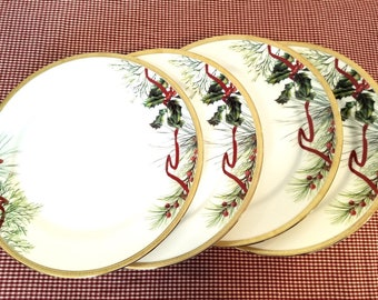 Dinner plates Four (4) Fashion Buffet Gold (Holly and Pine Red Berry) by CHARTER CLUB 11.25 inch Christmas dishes made in Sri Lanka & Christmas dishes | Etsy