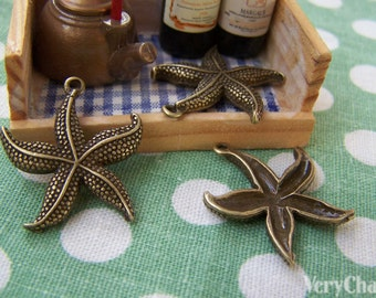 10 pcs of Antique Bronze Starfish Charms  23mm A3406