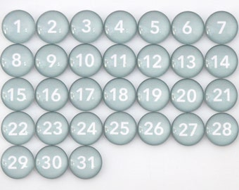 31 Classy Grey Calendar Number Glass Magnets
