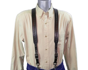 Barbed Wire embossed Black Leather Suspenders
